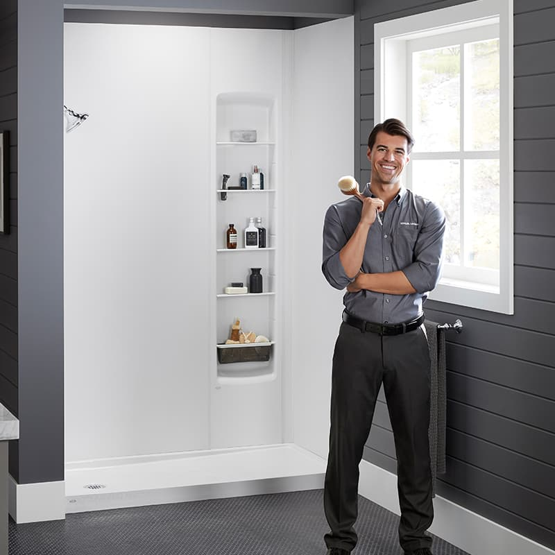 Image of White Shower With Kohler Rep