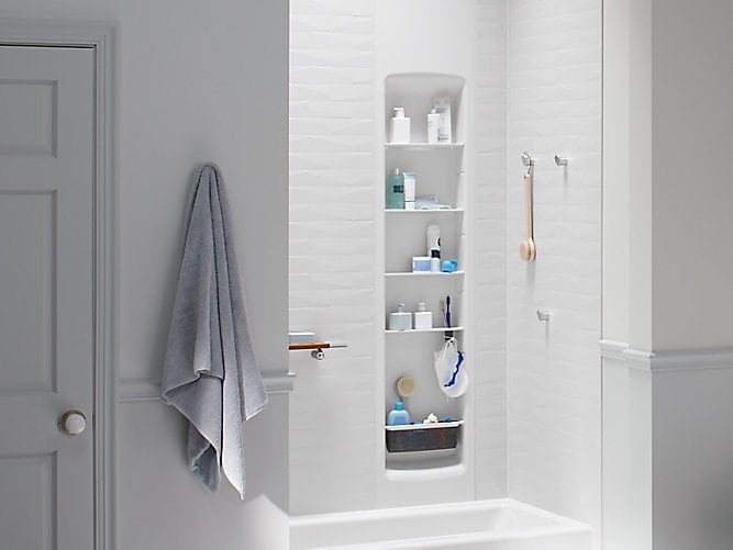 White brick LuxStone shower and white Shower Locker'