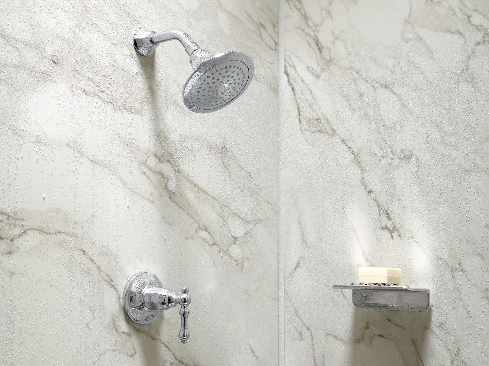 A traditional showerhead and floating shelf against CrossCut dune.'