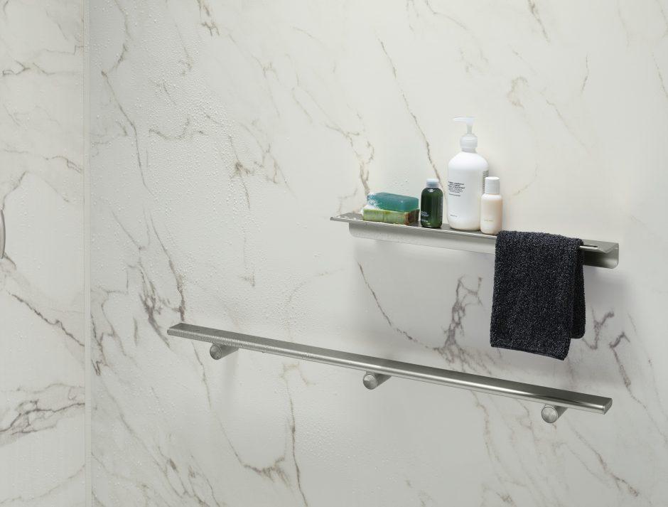 CrossCut Dune LuxStone shower walls