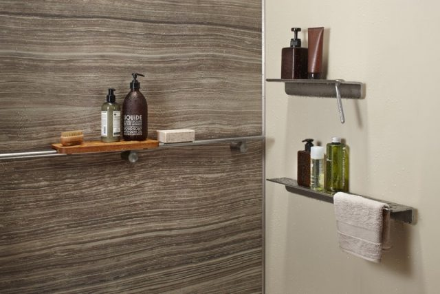 Shower with multiple shelves