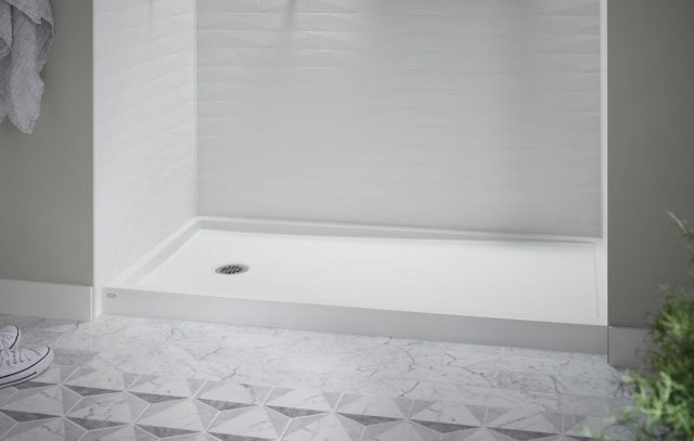 Kohler LuxStone shower bases and walls are customizable to match your bathroom style.