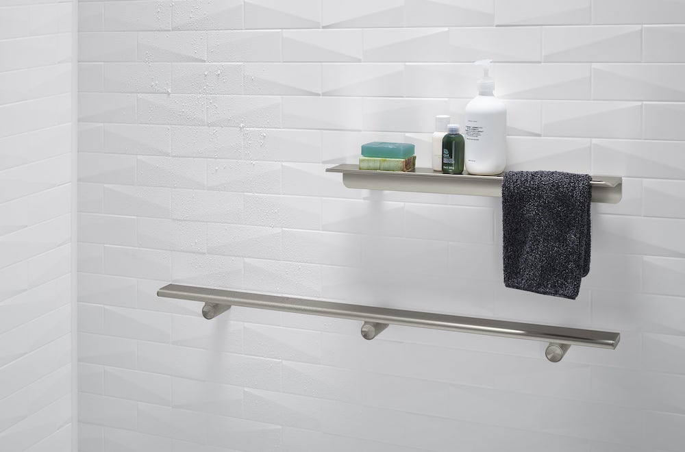 Accessories like the shower barre adds clean lines to your shower space.