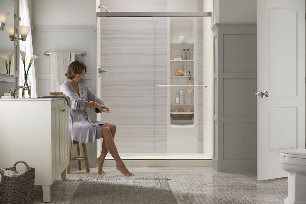 Full view of Kohler LuxStone shower