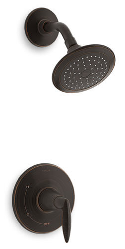 Contemporary shower head in oil rubbed bronze