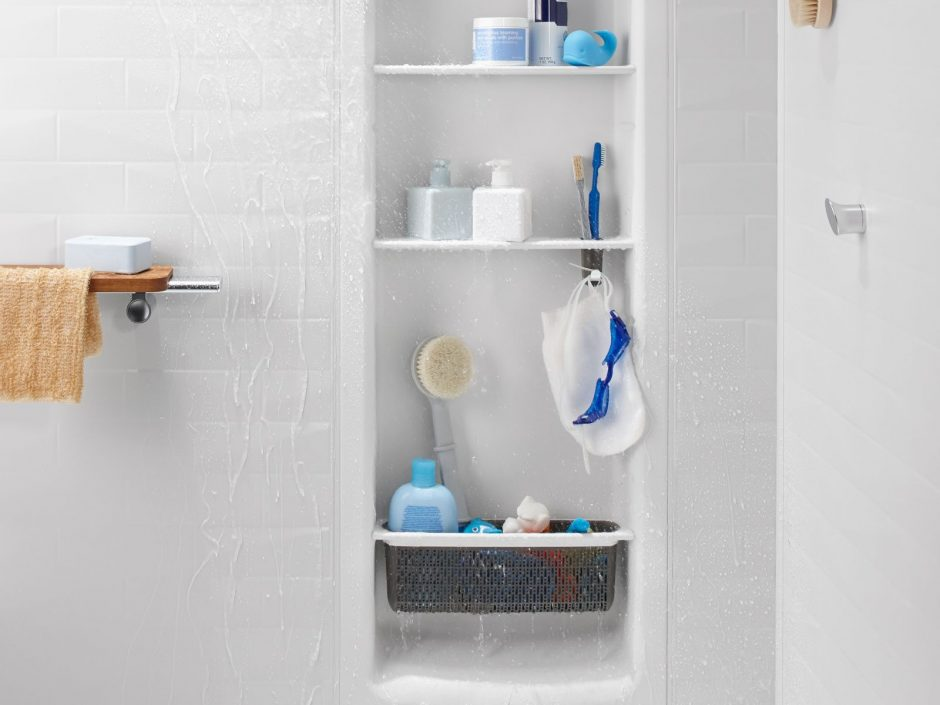 The Kohler Shower Locker is a shelving system that can be installed in the Kohler LuxStone Shower to safely store your shower supplies.