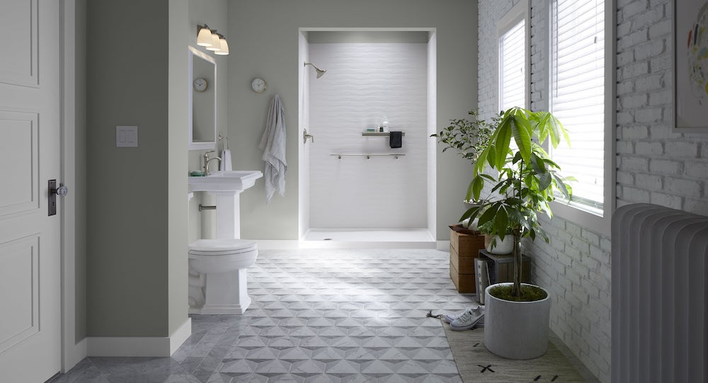 Urban organic design with bright while tiles.'