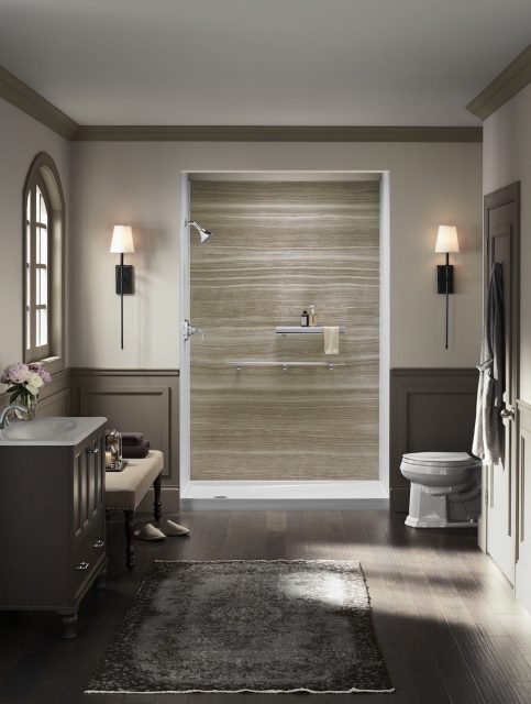Walk-in shower centered in a decadent bathroom