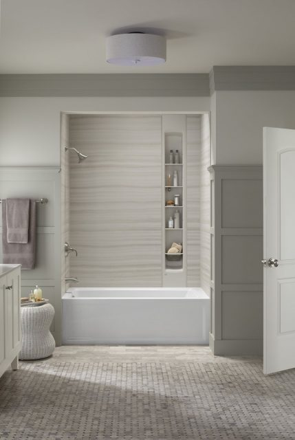 traditional bathroom with shower-tub combo