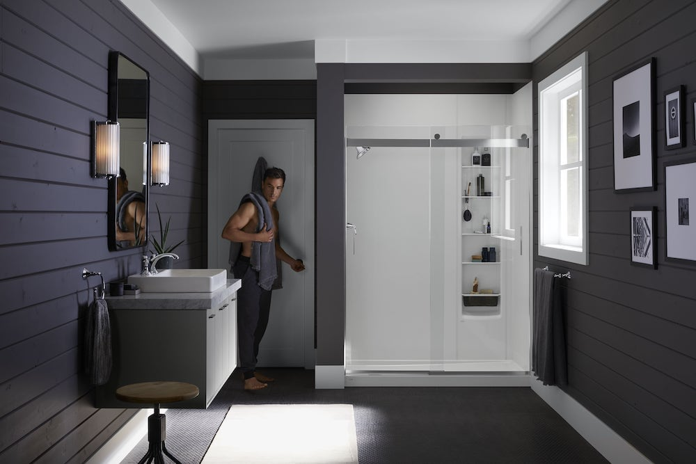 spa-inspired shower in modern bathroom'