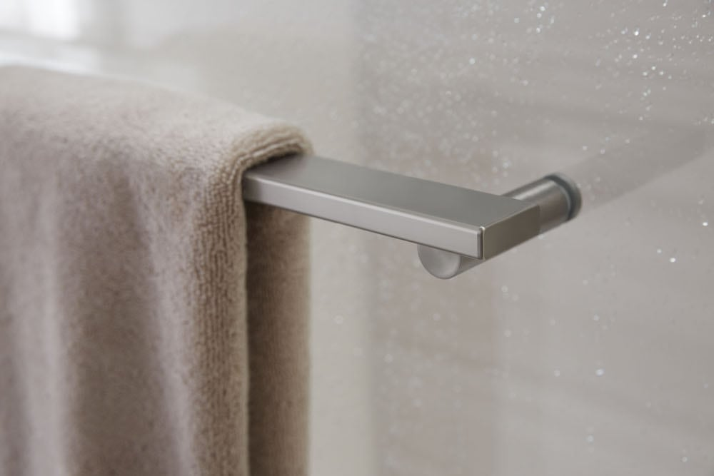 Water beading on shower door