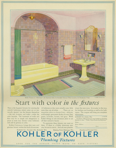 ad for a colorful bathroom