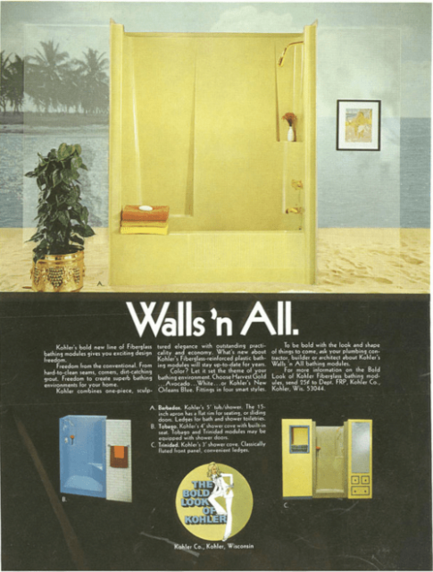 An old Kohler ad featuring a yellow shower