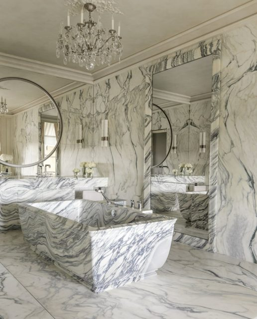 two-toned marble bathroom