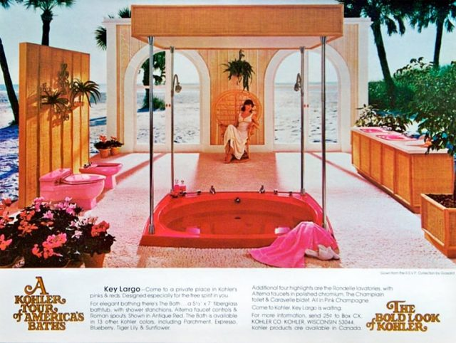 Hot pink whirlpool tub in a tropical location