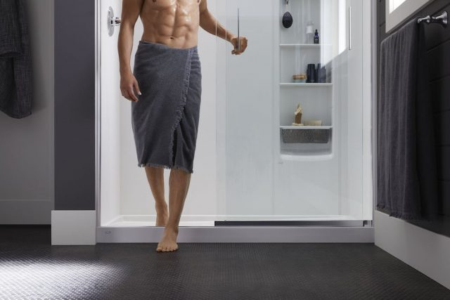 man getting out of the shower