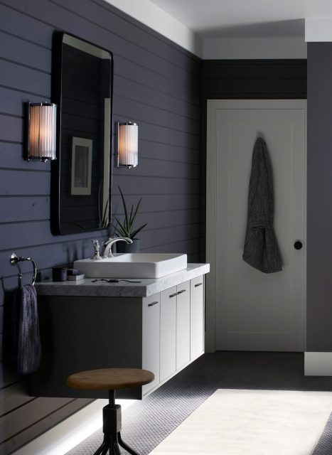 sink, mirror, and lighting in an bathroom