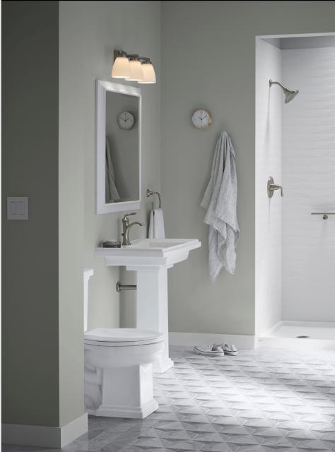 pedestal sink in white bathroom