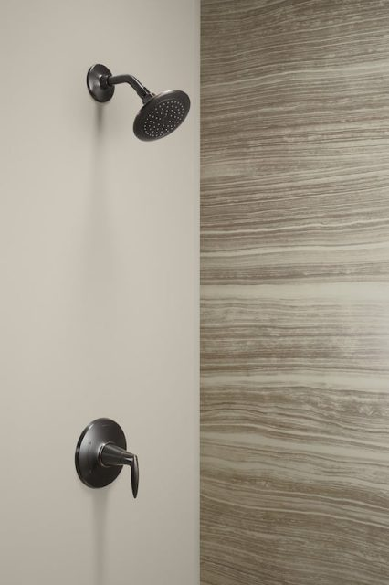 Oil-rubbed bronze showerhead and brown walls