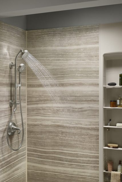 shower with a spa-like showerhead