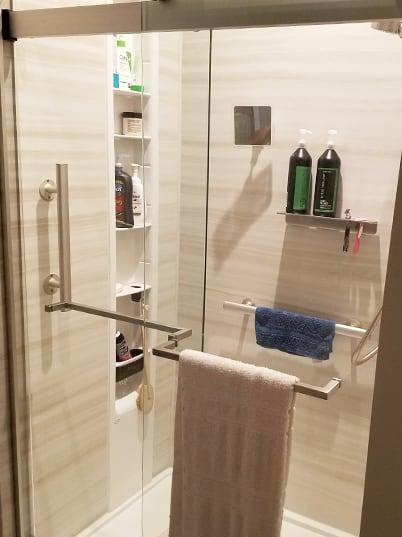 Inside of walk-in shower