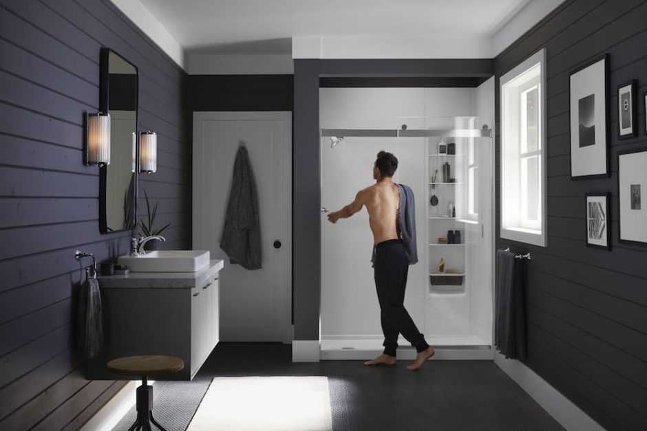 man getting into shower