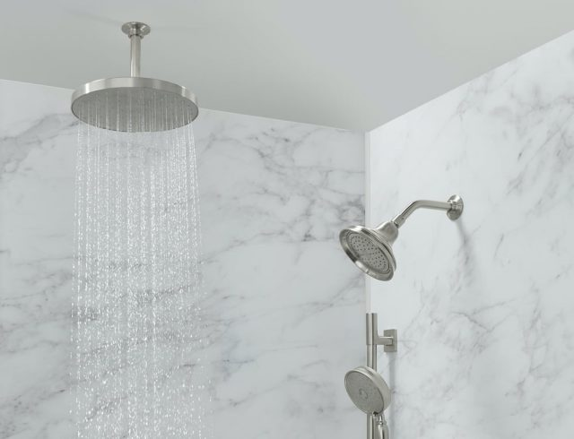 Calacatta shower walls featuring overhead rainhead