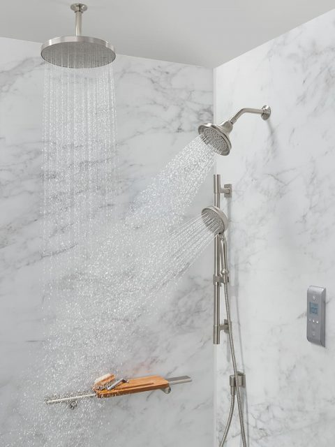 Shower with duel faucets
