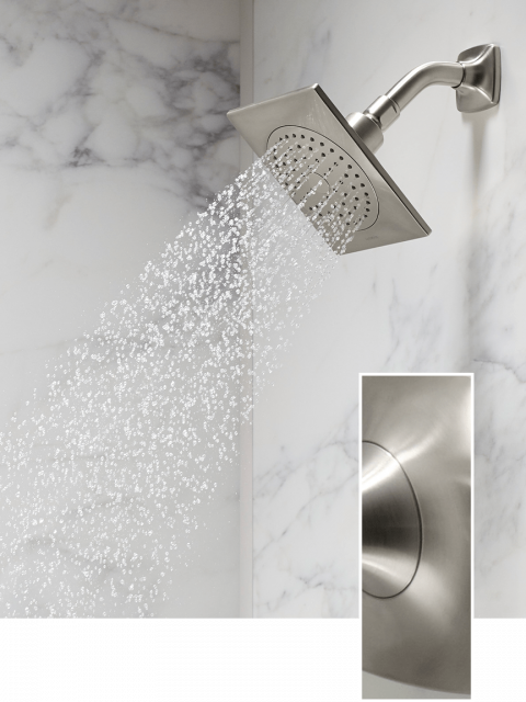 Showerhead with square detailing