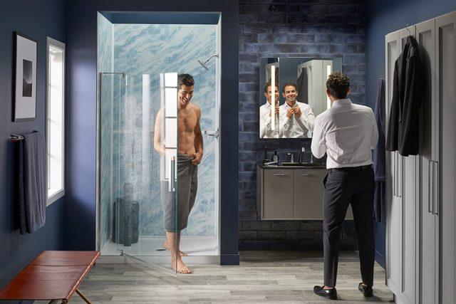 couple in a bluette shower