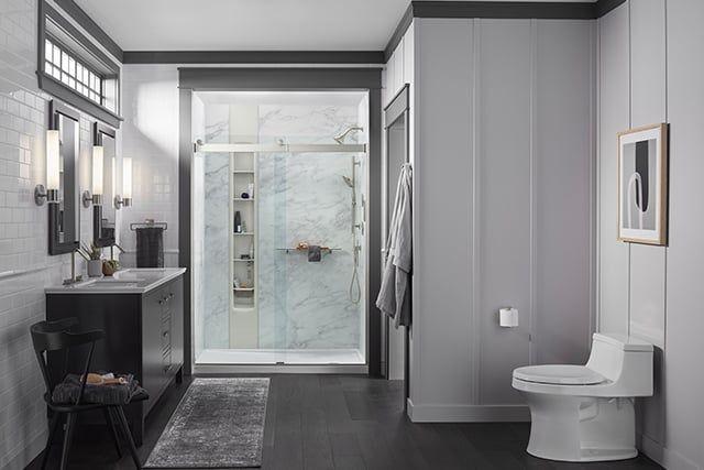shower in grey bathroom