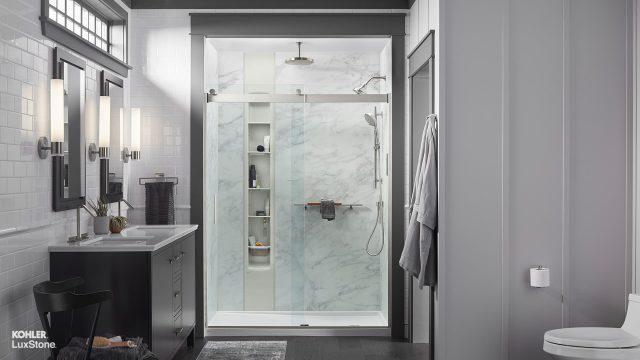 shower in a grey bathroom