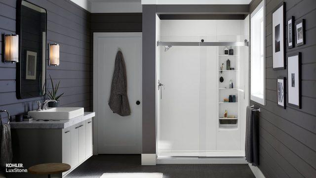 white shower in full bathroom