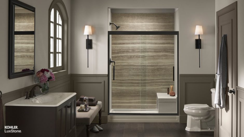 walk-in shower with VeinCut Sandbar walls