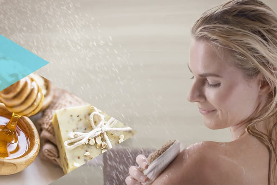Woman using spa scrub'