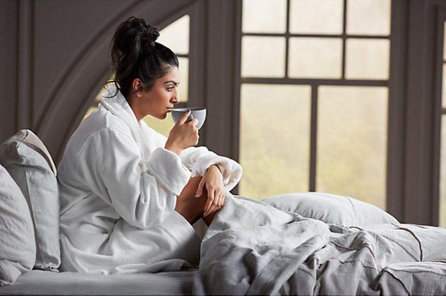 woman in kohler robe