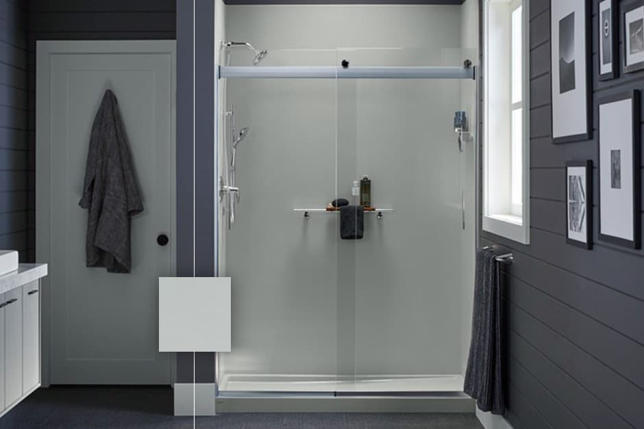 Image of LuxStone shower with Ice Grey walls'