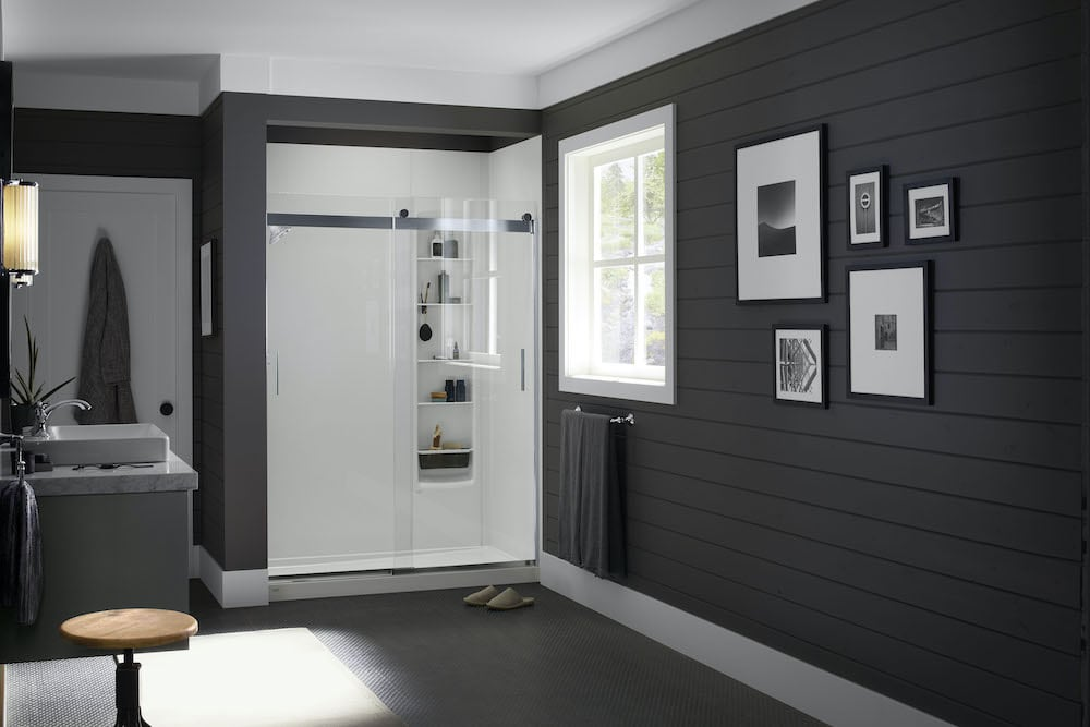 Modern farmhouse bathroom door'