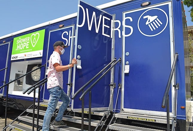 Showers of Hope Kohler Relief Trailer in Los Angeles California