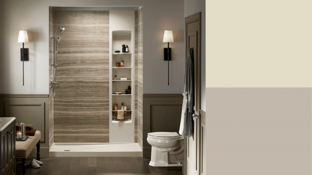 VeinCut Sandbar shower walls with color swatches: unforgettable and gallery grey