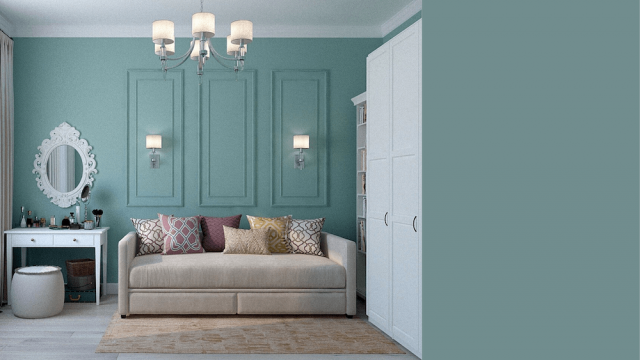 Teal bedroom and Aegean Teal color swatch