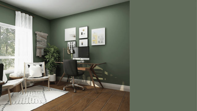 Forest green home office and Royal Orchard color swatch