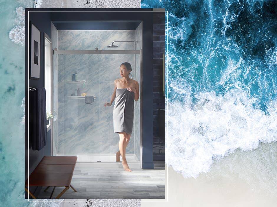 Image of Bluette LuxStone shower with water and waves
