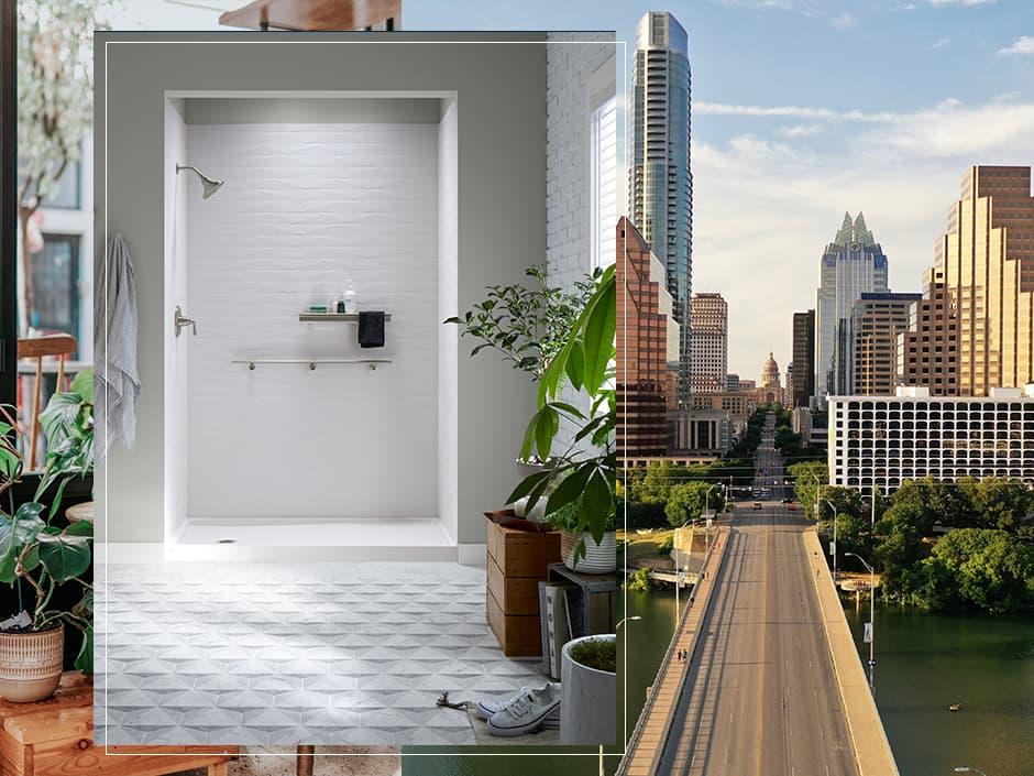 Urban Organic Shower around city scape