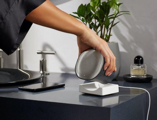 Moxie® wireless speaker on bathroom vanity