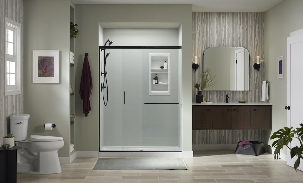Ice Grey shower walls with Matte Black fixtures and accessories'