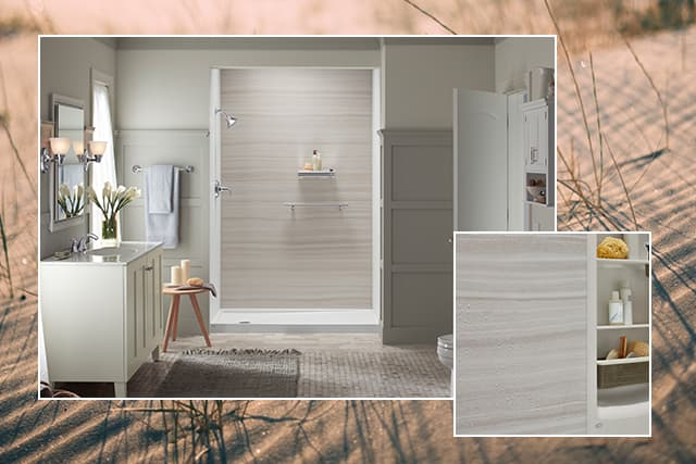 Photo of beach texture with shower photo and VeinCut dune wall design