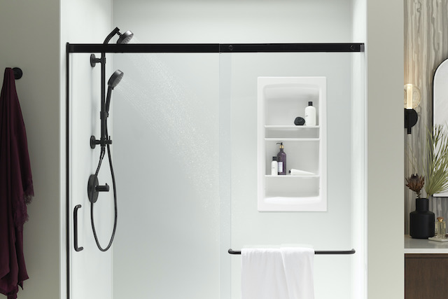 KOHLER Ice Grey Shower Wall with shower niche and glass door