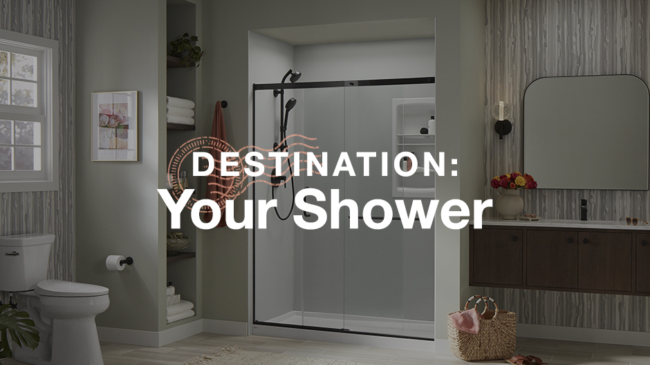 Photo of bathroom with words Destination: Your Shower