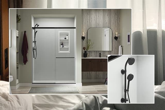 Ice Grey shower walls with Matte Black fixtures and accessories